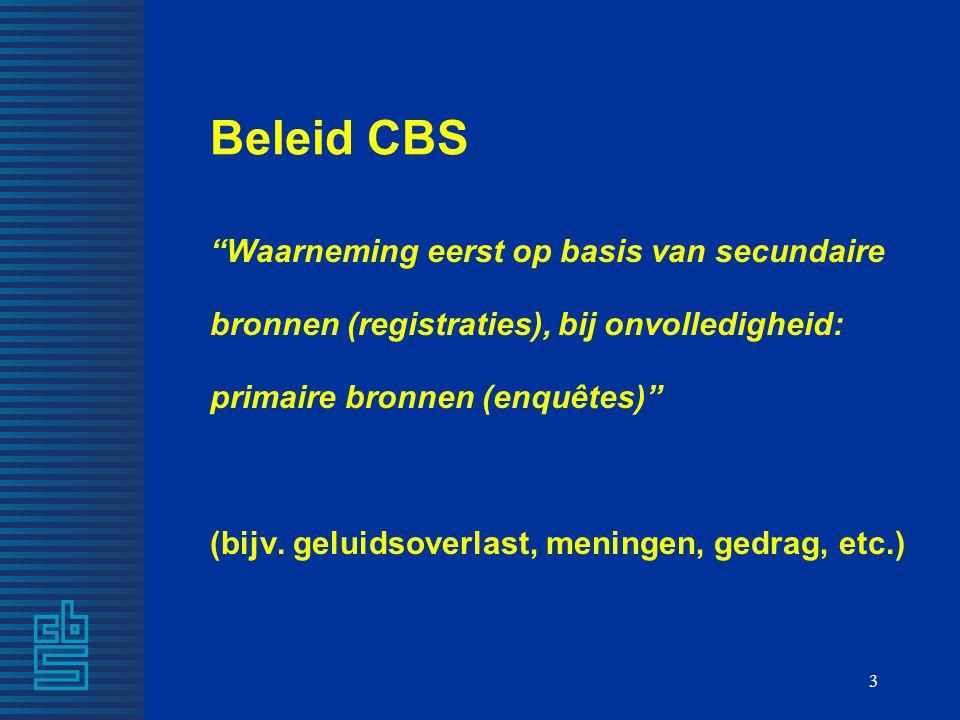 """3 Beleid CBS """"Waarneming eerst op basis van secundaire bronnen (registraties), bij onvolledigheid: primaire bronnen (enquêtes)"""" (bijv. geluidsoverlast"""
