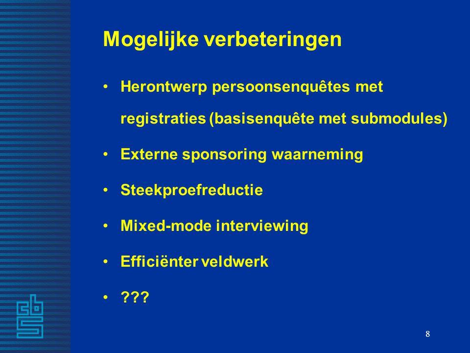 8 Mogelijke verbeteringen Herontwerp persoonsenquêtes met registraties (basisenquête met submodules) Externe sponsoring waarneming Steekproefreductie Mixed-mode interviewing Efficiënter veldwerk ???