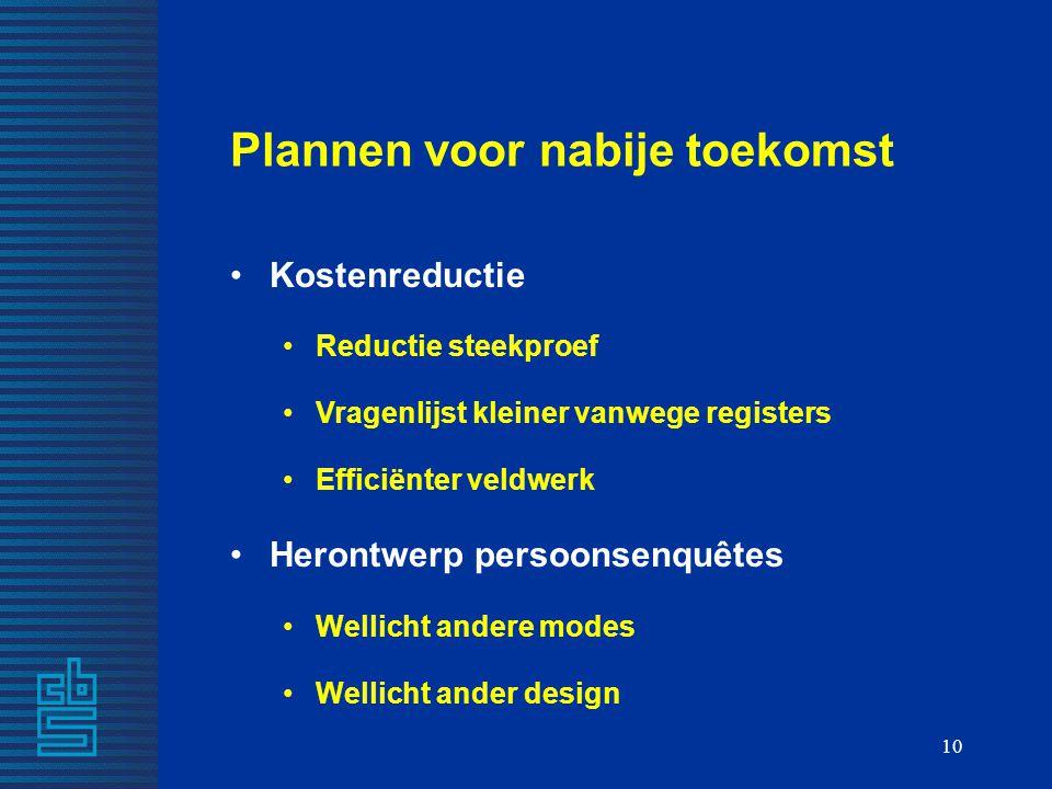 10 Plannen voor nabije toekomst Kostenreductie Reductie steekproef Vragenlijst kleiner vanwege registers Efficiënter veldwerk Herontwerp persoonsenquê