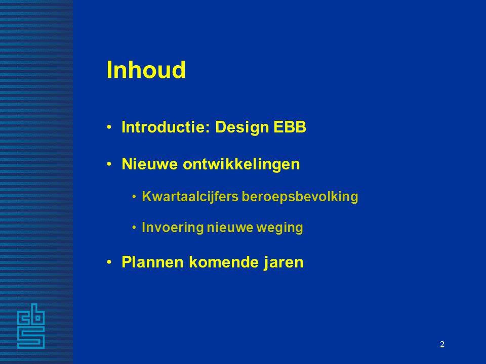 2 Inhoud Introductie: Design EBB Nieuwe ontwikkelingen Kwartaalcijfers beroepsbevolking Invoering nieuwe weging Plannen komende jaren