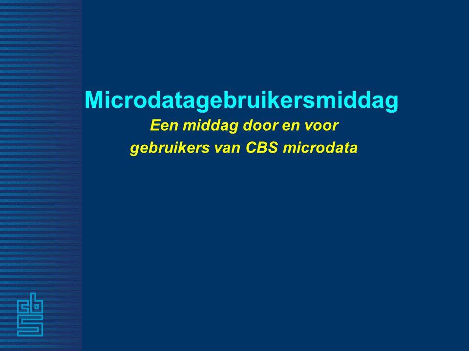 Microdatagebruikersmiddag Een middag door en voor gebruikers van CBS microdata