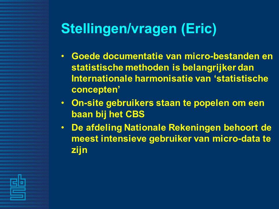 Stellingen/vragen (Eric) Goede documentatie van micro-bestanden en statistische methoden is belangrijker dan Internationale harmonisatie van 'statisti
