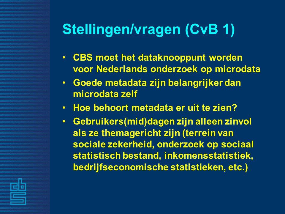 Stellingen/vragen (CvB 1) CBS moet het dataknooppunt worden voor Nederlands onderzoek op microdata Goede metadata zijn belangrijker dan microdata zelf