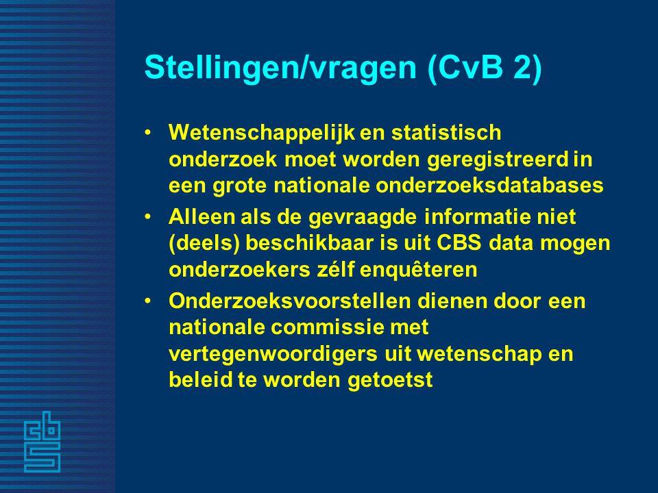 Stellingen/vragen (Lex 1) De weg die het CBS is ingeslagen met het toegankelijk maken van administratieve databestanden en remote access zal grote opbrengsten hebben voor de Nederlandse samenleving.