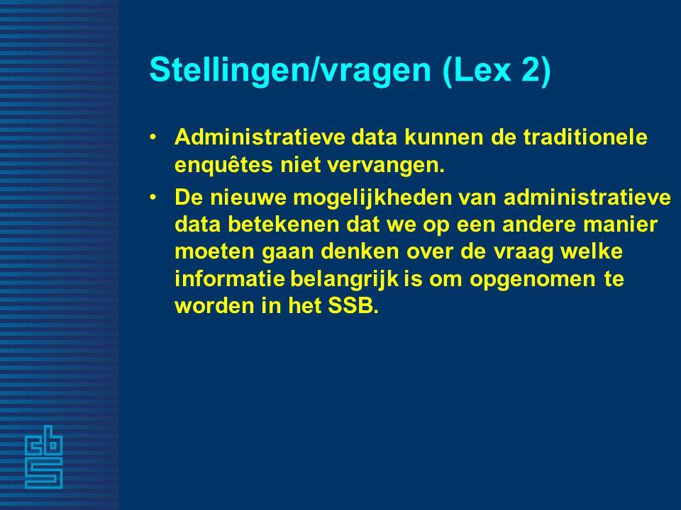 Stellingen/vragen (Lex 2) Administratieve data kunnen de traditionele enquêtes niet vervangen. De nieuwe mogelijkheden van administratieve data beteke