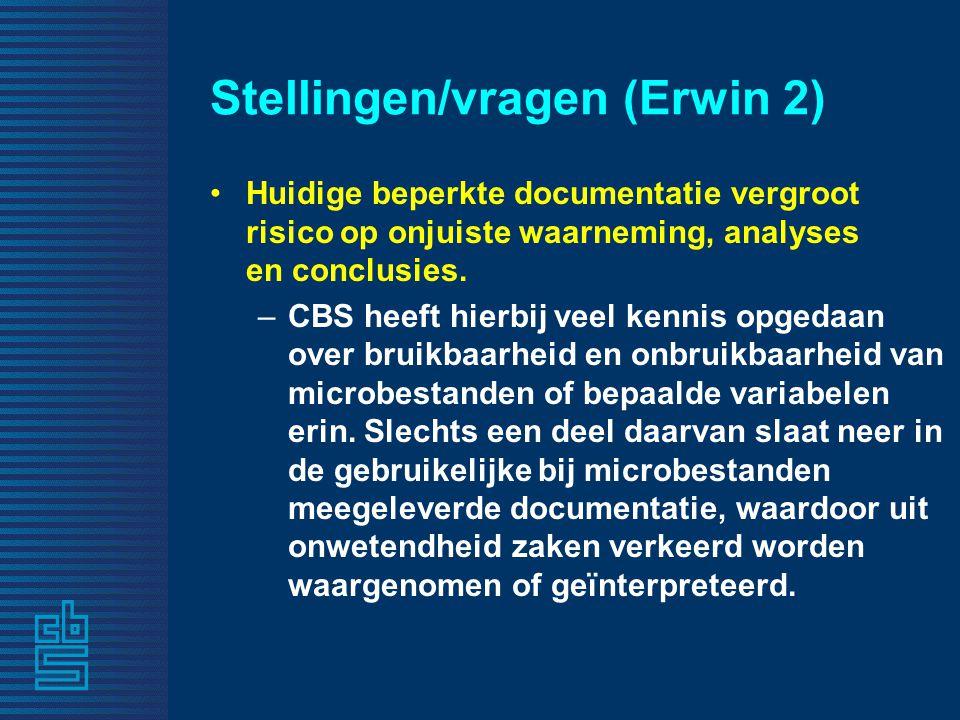 Stellingen/vragen (Erwin 2) Huidige beperkte documentatie vergroot risico op onjuiste waarneming, analyses en conclusies. –CBS heeft hierbij veel kenn