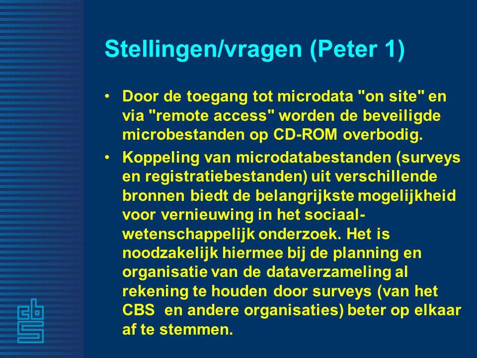 Stellingen/vragen (Peter 1) Door de toegang tot microdata