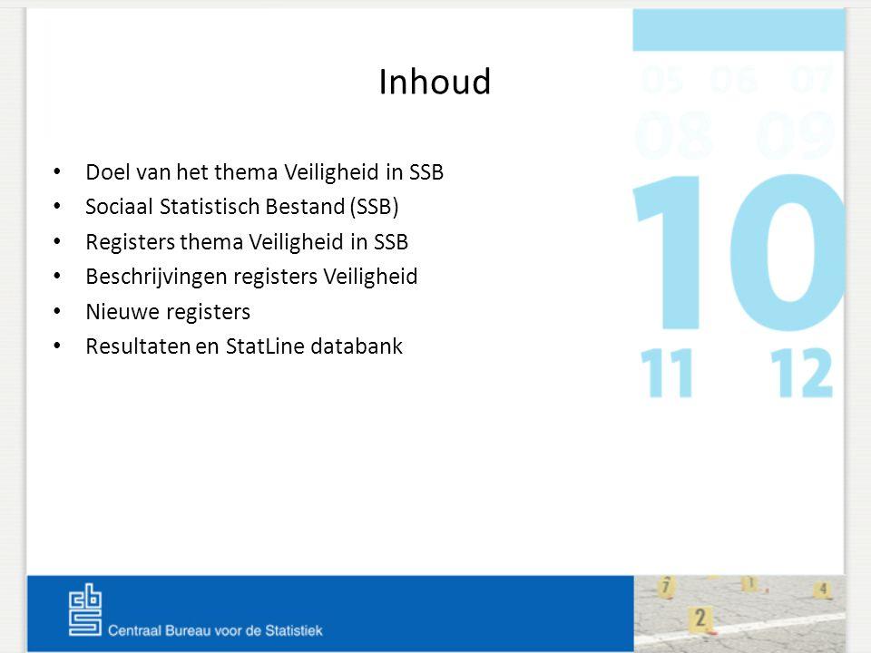 Inhoud Doel van het thema Veiligheid in SSB Sociaal Statistisch Bestand (SSB) Registers thema Veiligheid in SSB Beschrijvingen registers Veiligheid Ni