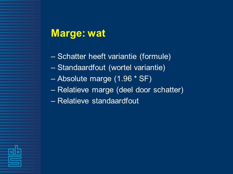 Marge: wat – Schatter heeft variantie (formule) – Standaardfout (wortel variantie) – Absolute marge (1.96 * SF) – Relatieve marge (deel door schatter)