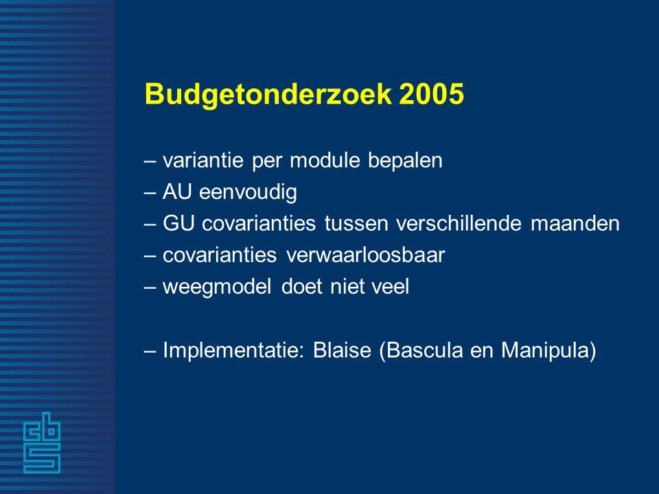 Budgetonderzoek 2005 – variantie per module bepalen – AU eenvoudig – GU covarianties tussen verschillende maanden – covarianties verwaarloosbaar – wee