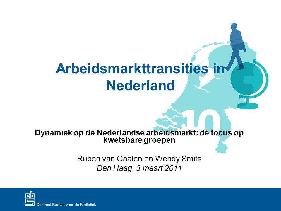 Dynamiek op de Nederlandse arbeidsmarkt 11 Transities van werk naar werk Externe transities  andere werkgever  van werknemer naar zelfstandige en vice versa Interne transities  Verandering van functie (beroepenmobiliteit)