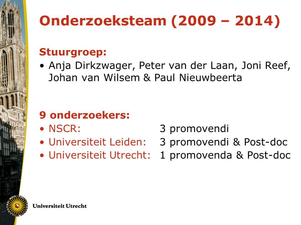 Onderzoeksteam (2009 – 2014) Stuurgroep: Anja Dirkzwager, Peter van der Laan, Joni Reef, Johan van Wilsem & Paul Nieuwbeerta 9 onderzoekers: NSCR:3 promovendi Universiteit Leiden:3 promovendi & Post-doc Universiteit Utrecht:1 promovenda & Post-doc