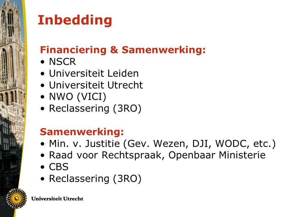 Inbedding Financiering & Samenwerking: NSCR Universiteit Leiden Universiteit Utrecht NWO (VICI) Reclassering (3RO) Samenwerking: Min. v. Justitie (Gev