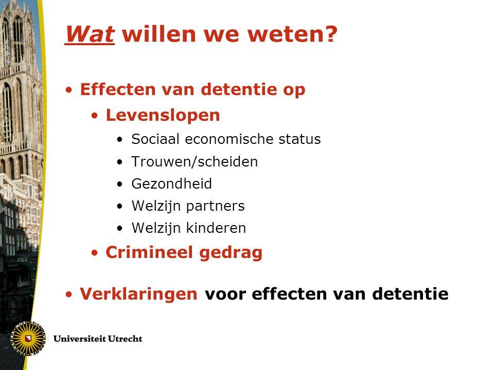 Wat willen we weten? Effecten van detentie op Levenslopen Sociaal economische status Trouwen/scheiden Gezondheid Welzijn partners Welzijn kinderen Cri