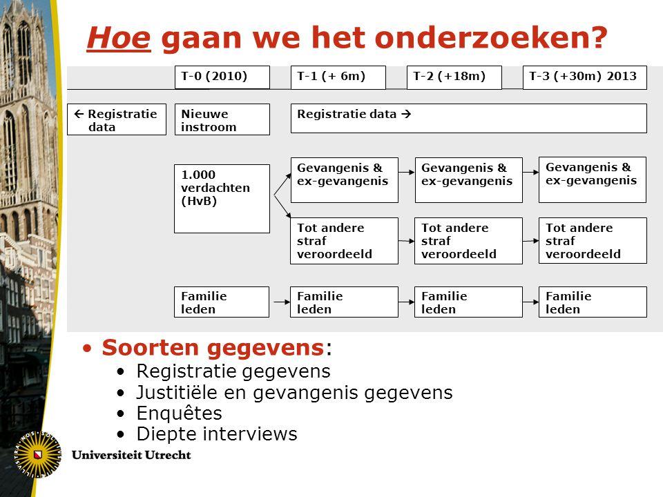 Hoe gaan we het onderzoeken? Soorten gegevens: Registratie gegevens Justitiële en gevangenis gegevens Enquêtes Diepte interviews T-0 (2010)T-1 (+ 6m)T