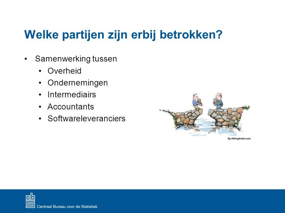 Welke partijen zijn erbij betrokken? Samenwerking tussen Overheid Ondernemingen Intermediairs Accountants Softwareleveranciers