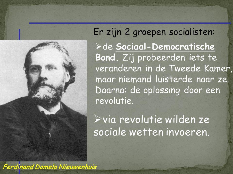 Er zijn 2 groepen socialisten:  de Sociaal-Democratische Bond. Zij probeerden iets te veranderen in de Tweede Kamer, maar niemand luisterde naar ze.