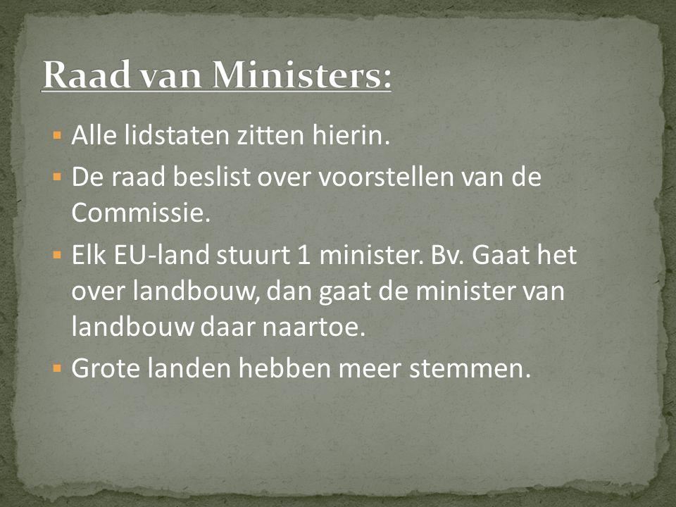  Alle lidstaten zitten hierin.  De raad beslist over voorstellen van de Commissie.  Elk EU-land stuurt 1 minister. Bv. Gaat het over landbouw, dan