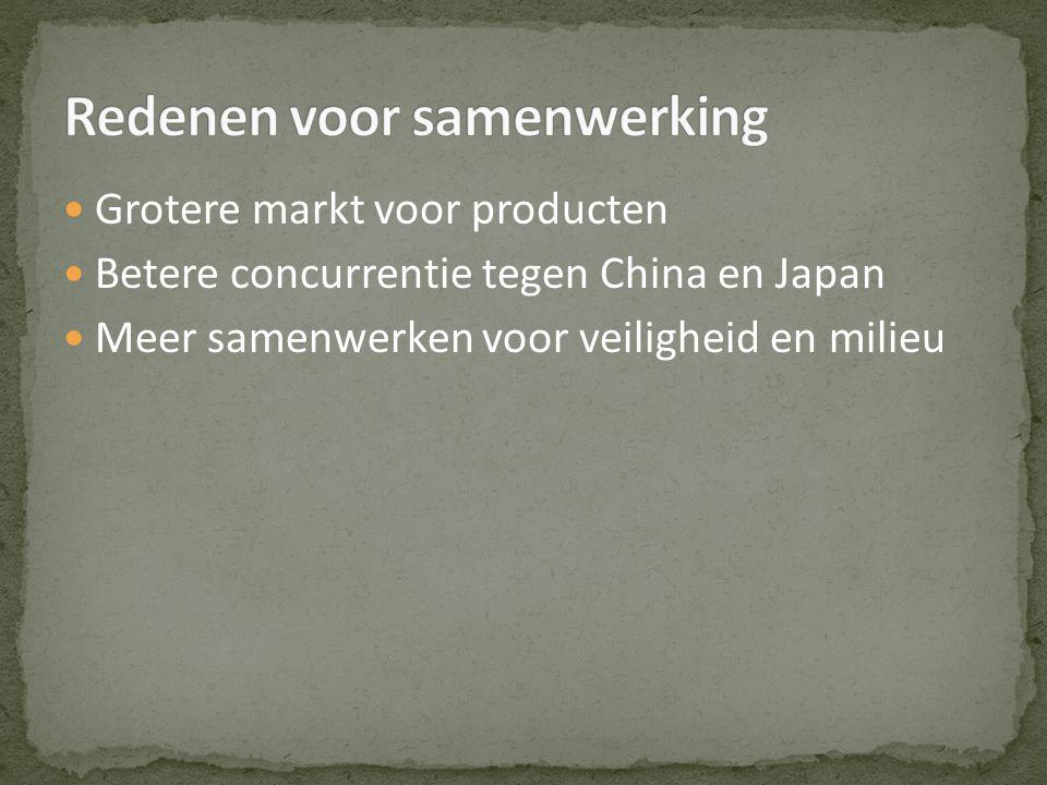 Grotere markt voor producten Betere concurrentie tegen China en Japan Meer samenwerken voor veiligheid en milieu
