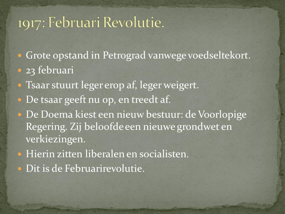 1917: bevolking was de tsaar beu. Er komt een revolutie. Hiervoor waren 4 redenen: Boeren hadden het slecht, veel armoede. Tsaar wilde geen macht dele