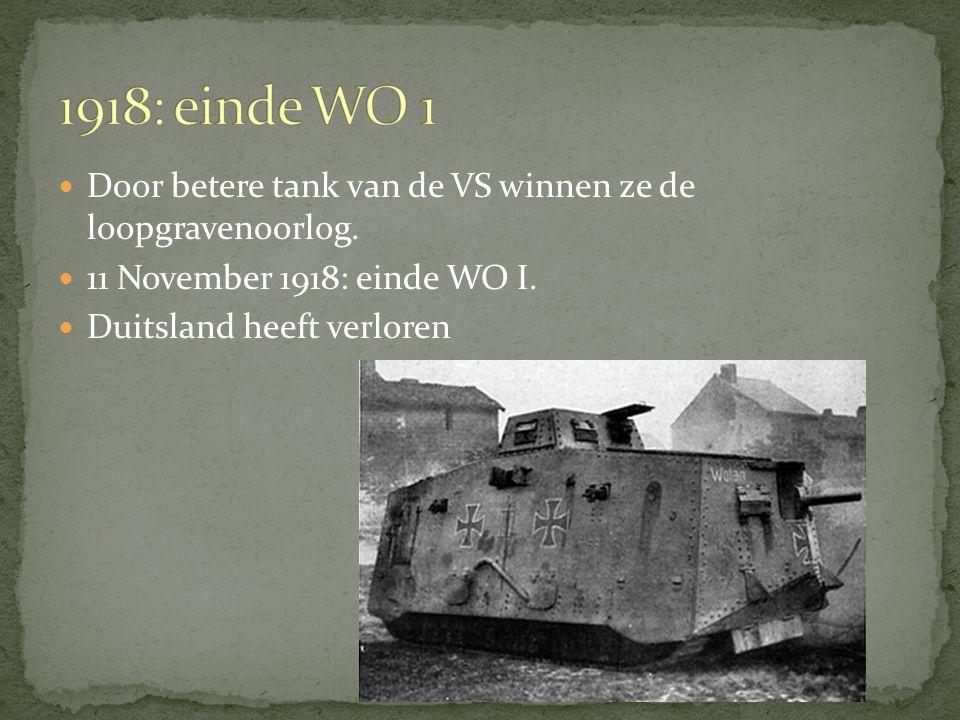 Door betere tank van de VS winnen ze de loopgravenoorlog.