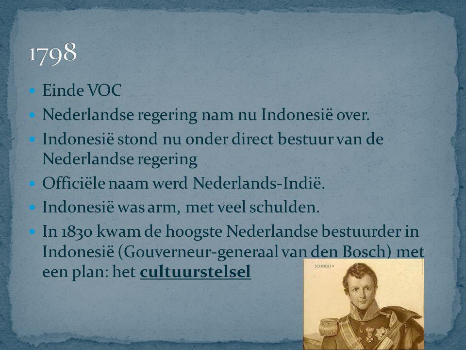 Idee: Alle grond op Java was van Nederland Alle boeren die daar op werkten, moesten huur betalen (=pacht) Dat betaalde hij dan niet met geld, maar in natura, met landbouwproducten.