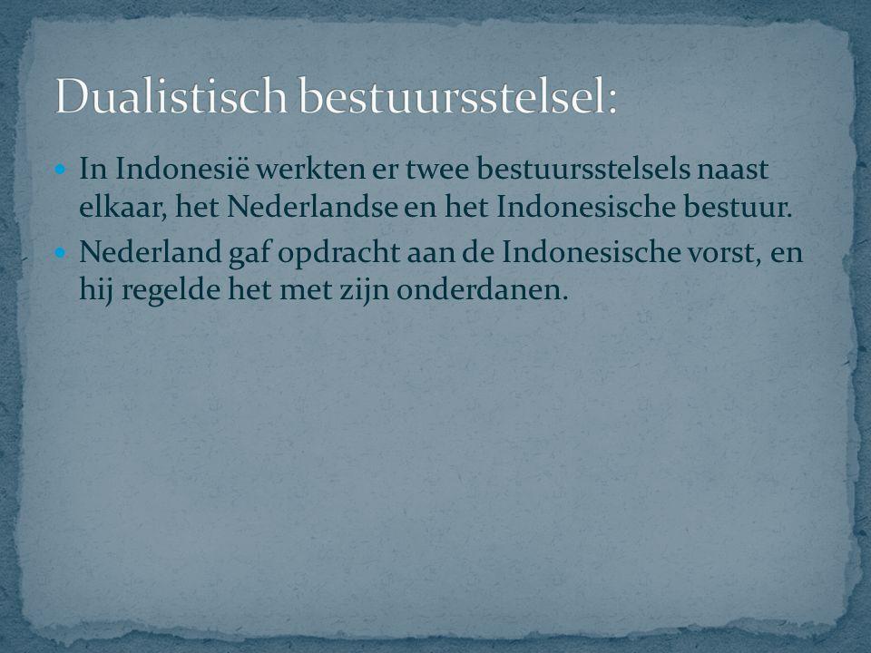 Nederlands bestuur: Gouverneur-Generaal Residenten (ambtenaar voor 1 provincie) Indonesische bestuur: Vorsten/ Regenten: doen wat de Nederlandsers willen.