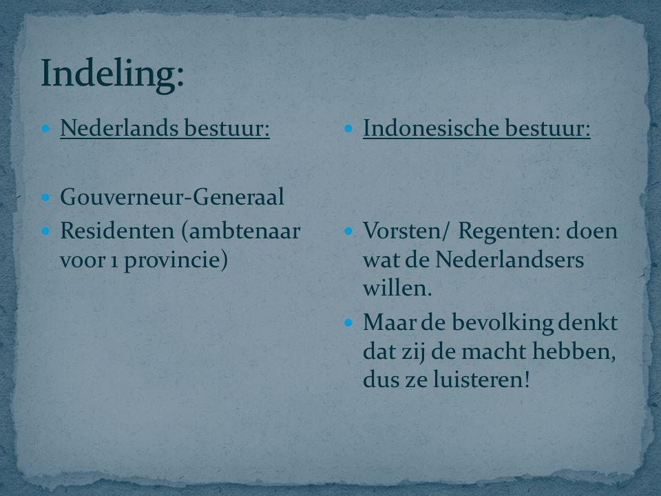 Nederlands bestuur: Gouverneur-Generaal Residenten (ambtenaar voor 1 provincie) Indonesische bestuur: Vorsten/ Regenten: doen wat de Nederlandsers wil
