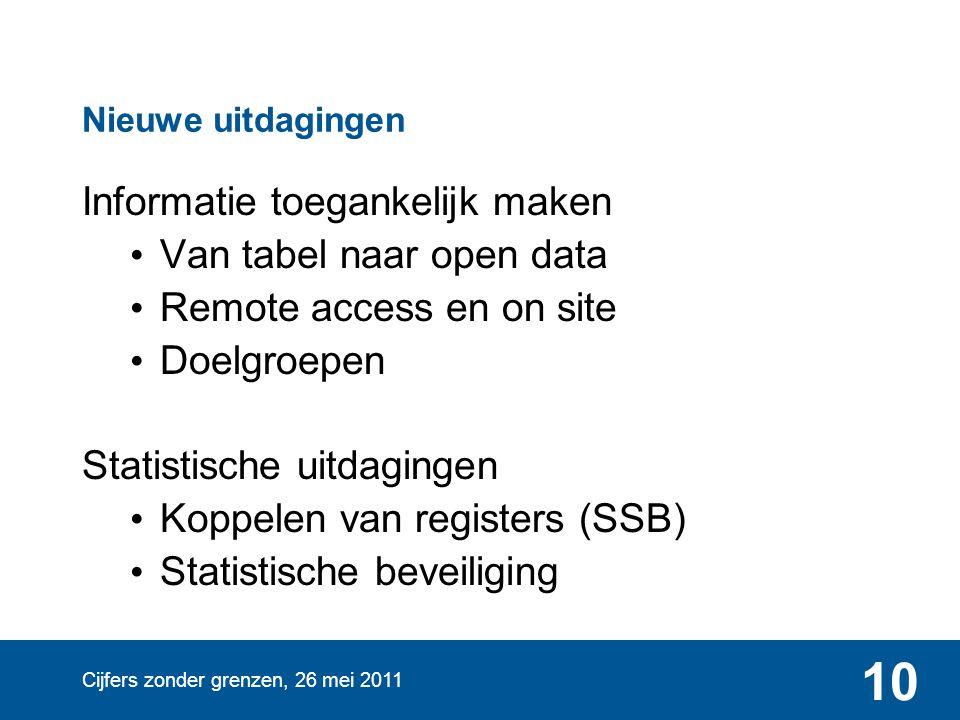 Cijfers zonder grenzen, 26 mei 2011 10 Nieuwe uitdagingen Informatie toegankelijk maken Van tabel naar open data Remote access en on site Doelgroepen Statistische uitdagingen Koppelen van registers (SSB) Statistische beveiliging