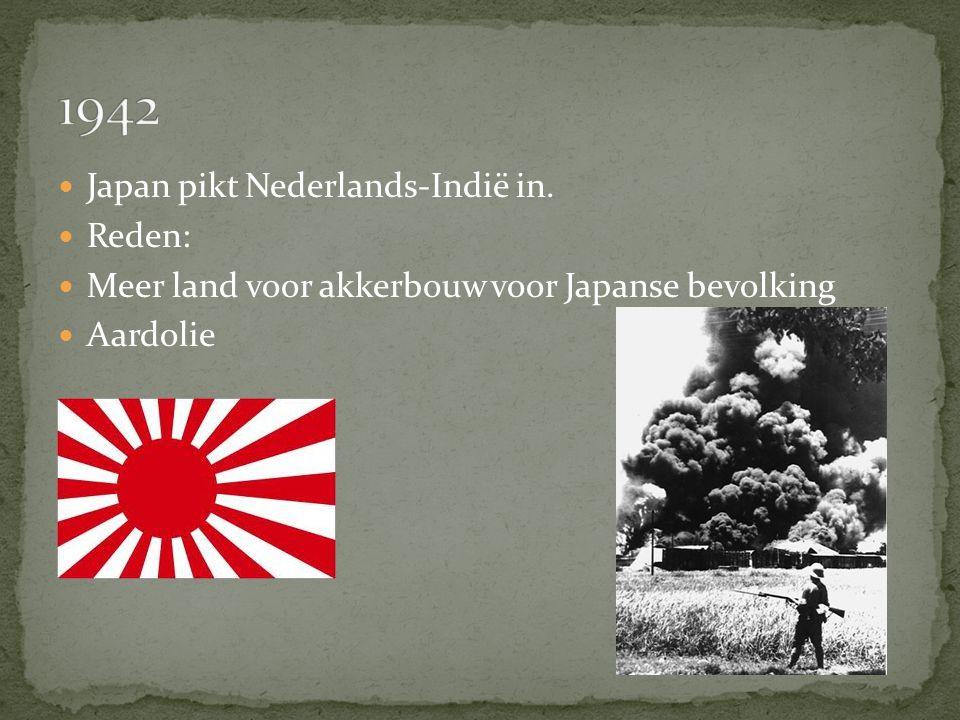 Japan pikt Nederlands-Indië in. Reden: Meer land voor akkerbouw voor Japanse bevolking Aardolie