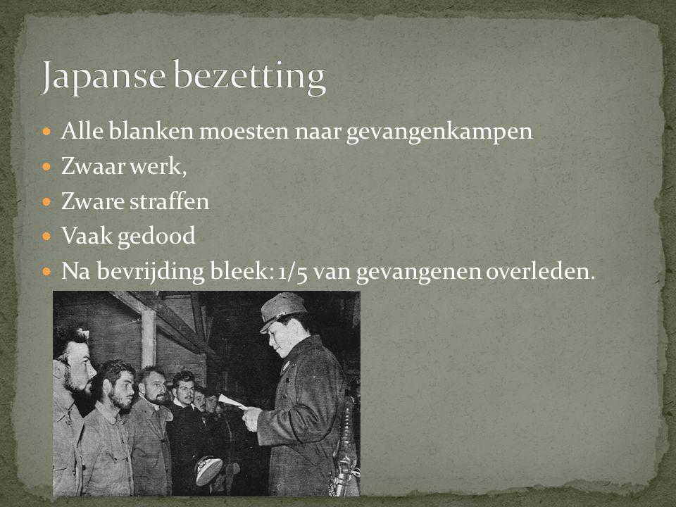 Alle blanken moesten naar gevangenkampen Zwaar werk, Zware straffen Vaak gedood Na bevrijding bleek: 1/5 van gevangenen overleden.