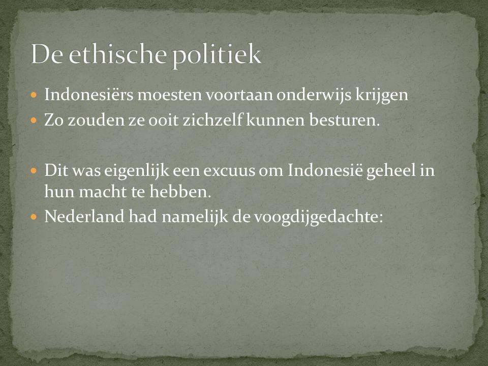 Nederland is de voogd van Indonesië De beheerder die het kind moet opvoeden.
