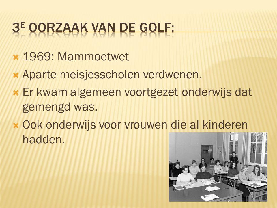  1969: Mammoetwet  Aparte meisjesscholen verdwenen.  Er kwam algemeen voortgezet onderwijs dat gemengd was.  Ook onderwijs voor vrouwen die al kin