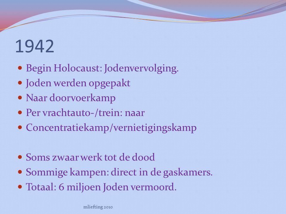1942 Begin Holocaust: Jodenvervolging.