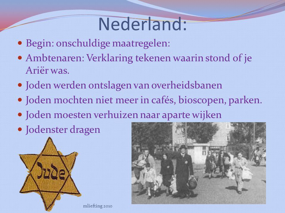 Nederland: Begin: onschuldige maatregelen: Ambtenaren: Verklaring tekenen waarin stond of je Ariër was.