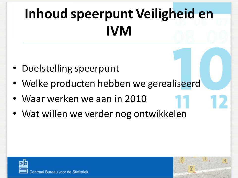 Inhoud speerpunt Veiligheid en IVM Doelstelling speerpunt Welke producten hebben we gerealiseerd Waar werken we aan in 2010 Wat willen we verder nog o