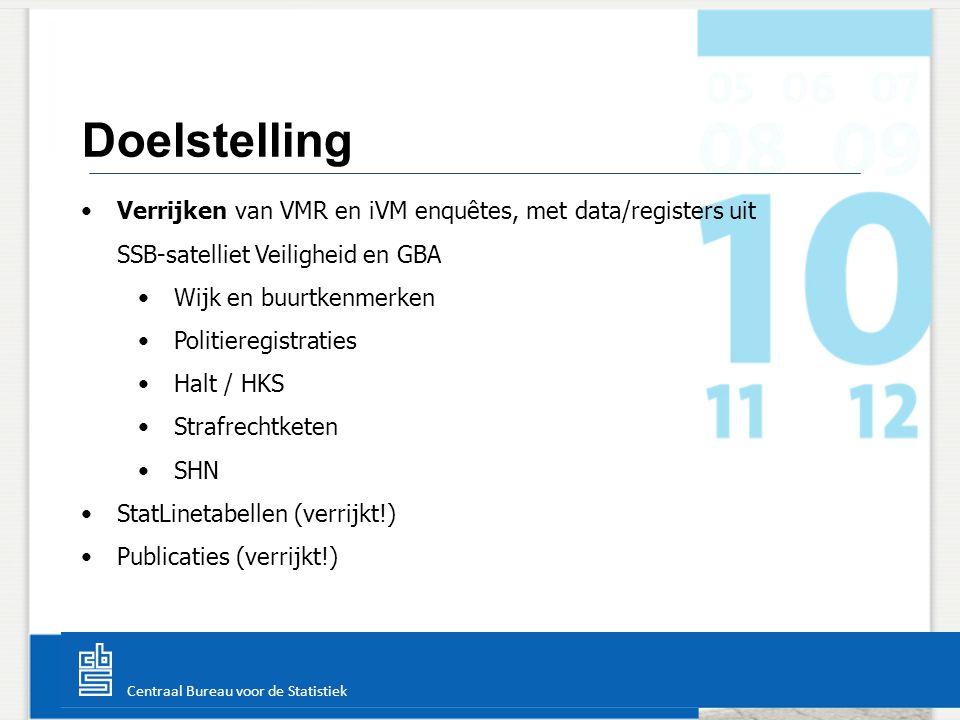Centraal Bureau voor de Statistiek Doelstelling Verrijken van VMR en iVM enquêtes, met data/registers uit SSB-satelliet Veiligheid en GBA Wijk en buur