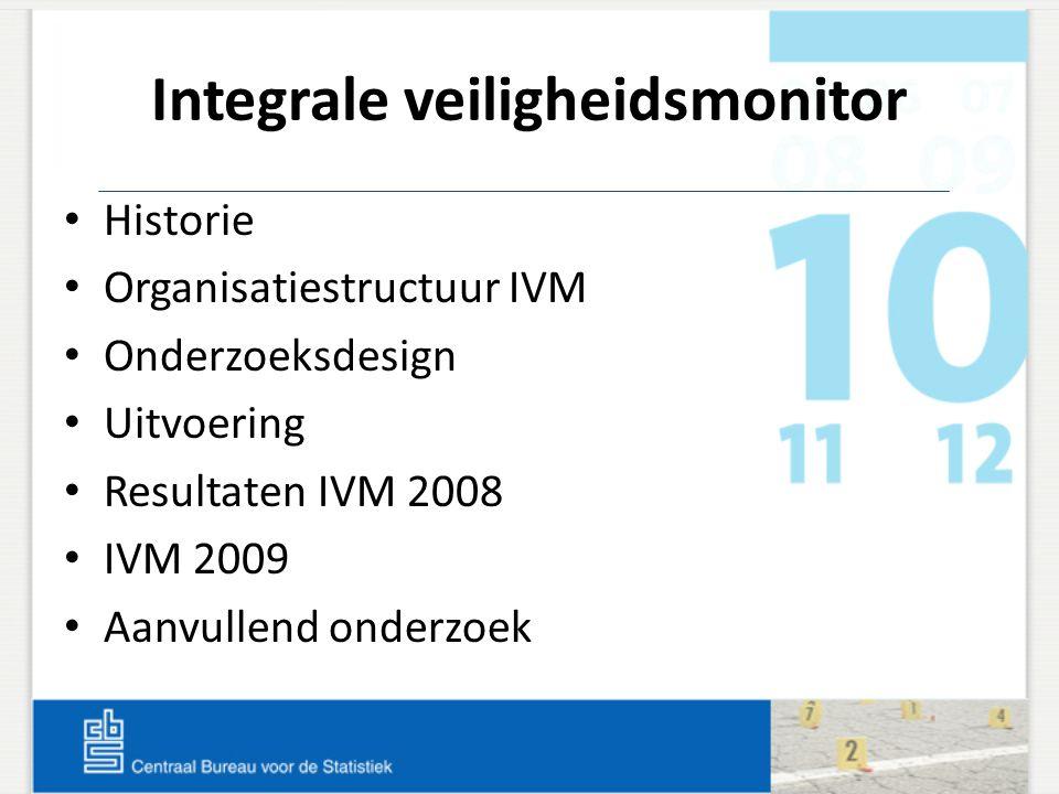 Integrale veiligheidsmonitor Historie Organisatiestructuur IVM Onderzoeksdesign Uitvoering Resultaten IVM 2008 IVM 2009 Aanvullend onderzoek