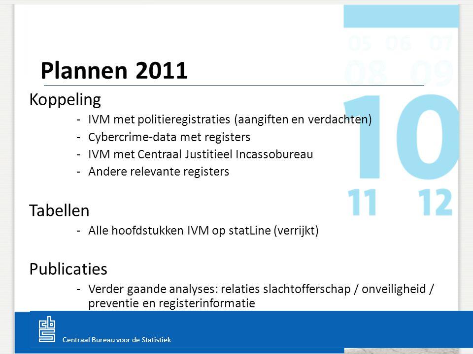 Centraal Bureau voor de Statistiek Koppeling -IVM met politieregistraties (aangiften en verdachten) -Cybercrime-data met registers -IVM met Centraal J