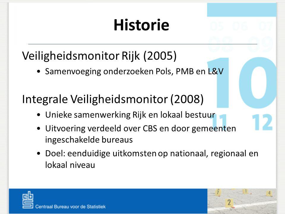 Historie Veiligheidsmonitor Rijk (2005) Samenvoeging onderzoeken Pols, PMB en L&V Integrale Veiligheidsmonitor (2008) Unieke samenwerking Rijk en loka