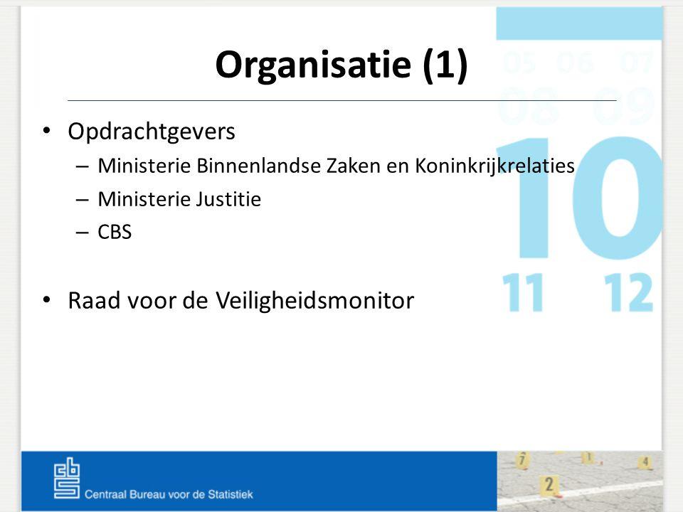 Organisatie (1) Opdrachtgevers – Ministerie Binnenlandse Zaken en Koninkrijkrelaties – Ministerie Justitie – CBS Raad voor de Veiligheidsmonitor
