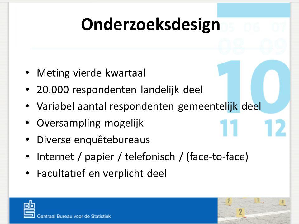 Onderzoeksdesign Meting vierde kwartaal 20.000 respondenten landelijk deel Variabel aantal respondenten gemeentelijk deel Oversampling mogelijk Divers