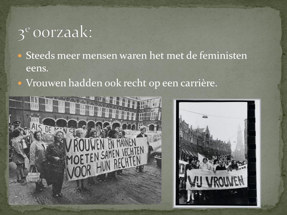Steeds meer mensen waren het met de feministen eens. Vrouwen hadden ook recht op een carrière.