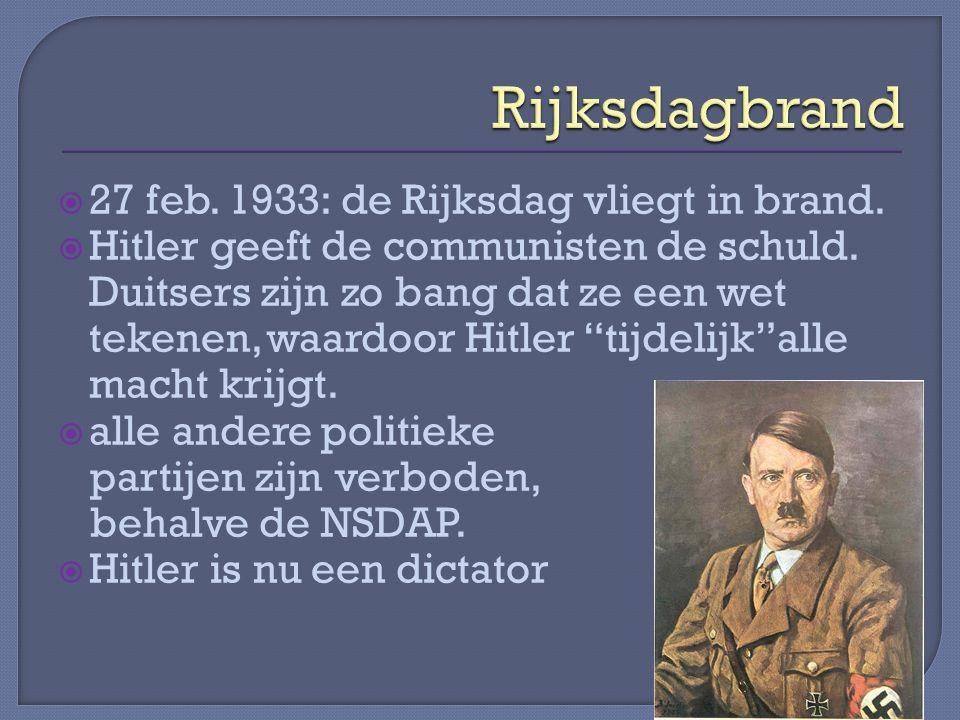  27 feb.1933: de Rijksdag vliegt in brand.  Hitler geeft de communisten de schuld.