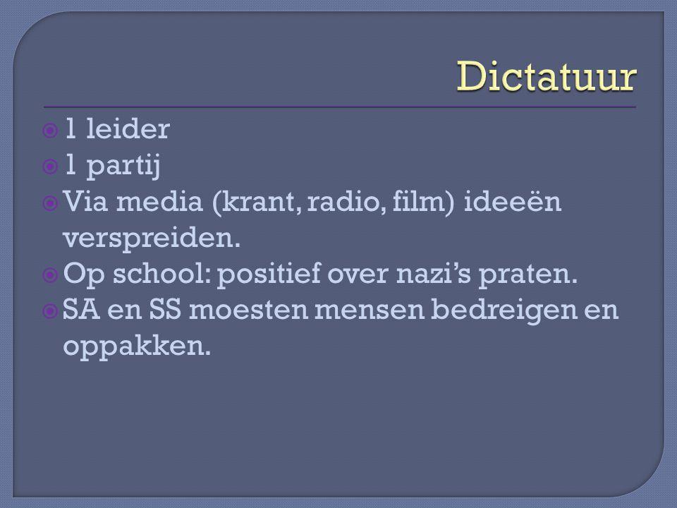  1 leider  1 partij  Via media (krant, radio, film) ideeën verspreiden.