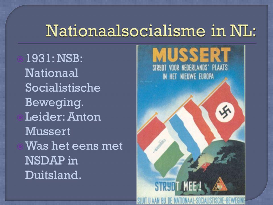  1931: NSB: Nationaal Socialistische Beweging.