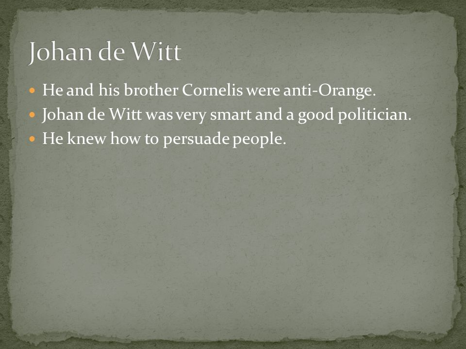 He and his brother Cornelis were anti-Orange. Johan de Witt was very smart and a good politician.