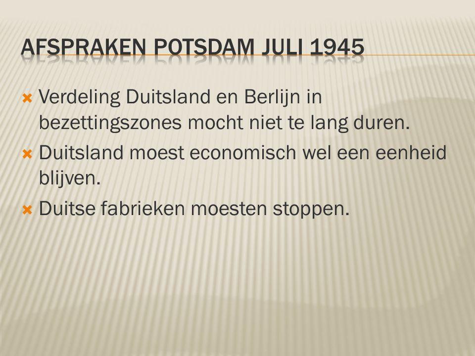 Verdeling Duitsland en Berlijn in bezettingszones mocht niet te lang duren.