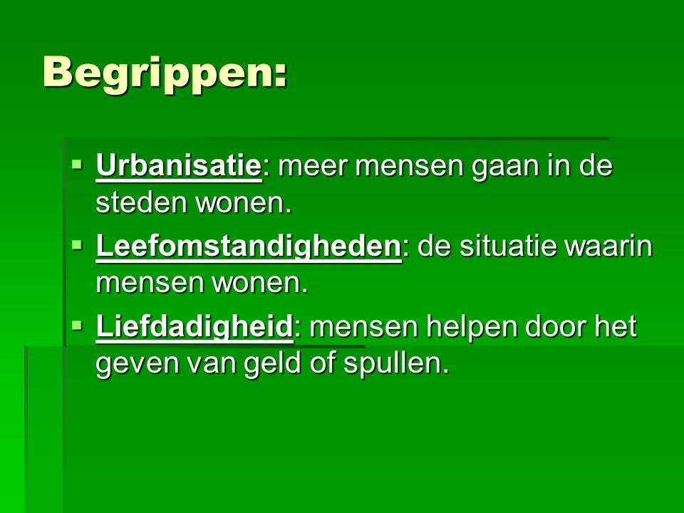 Begrippen:  Urbanisatie: meer mensen gaan in de steden wonen.  Leefomstandigheden: de situatie waarin mensen wonen.  Liefdadigheid: mensen helpen d