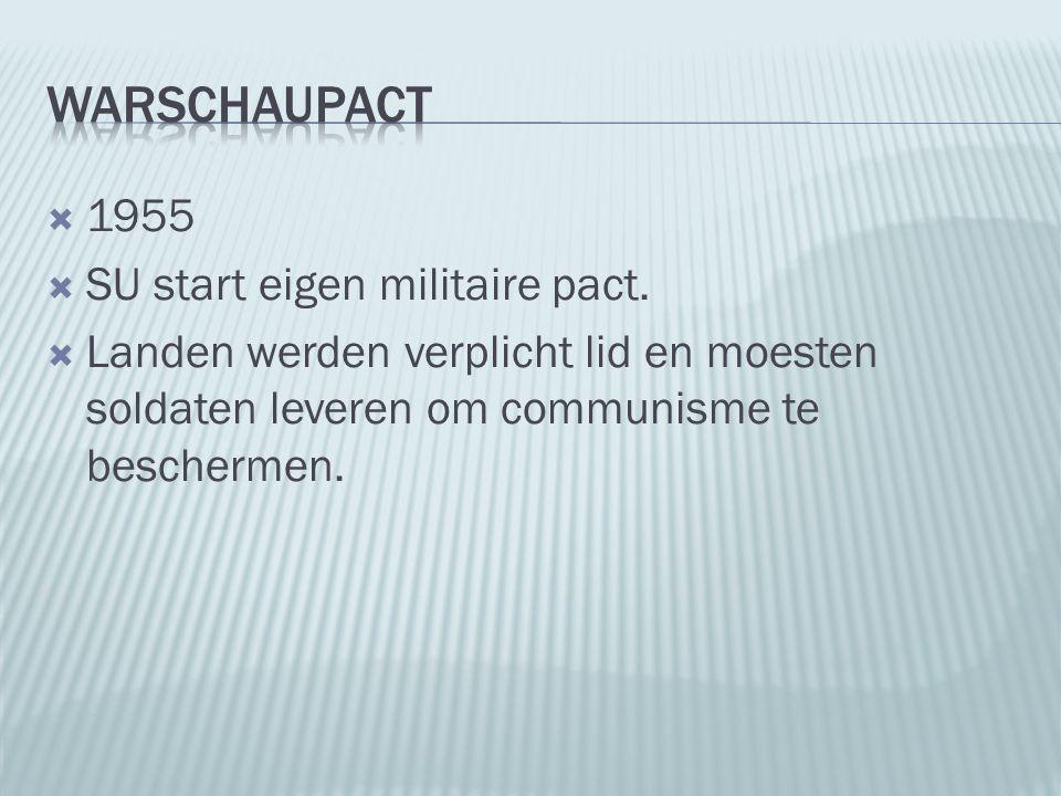  1955  SU start eigen militaire pact.  Landen werden verplicht lid en moesten soldaten leveren om communisme te beschermen.